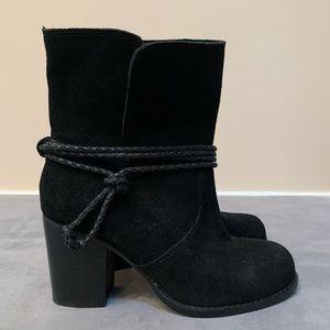 Splendid Black Suede Heeled Booties (6)